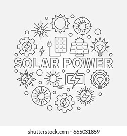 Solar power round illustration. Vector conversion of energy from sunlight into electricity concept symbol in thin line style