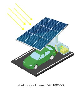 Solar power station for car. Electric car. Solar eco-parking. Vector illustration.