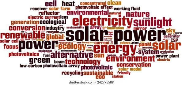Solar power word cloud concept. Vector illustration