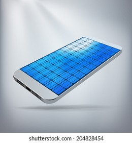 Solar Powered Smartphone Concept. Silver smartphone with screen made of solar panels. Layered file for ease of customization. Fully scalable vector illustration.