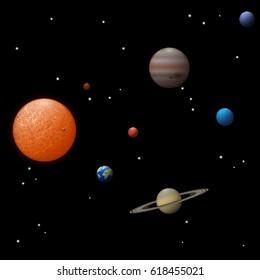 Solar system 3d vector illustration.
