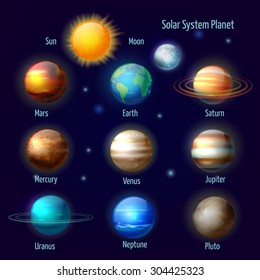 Solar system 8 planets and pluto with sun pictograms set. astronomical colorful poster abstract vector isolated illustration