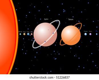 solar system, abstract vector art illustration