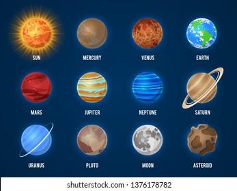 Solar system cartoon planets. Cosmos planet galaxy space orbit sun moon jupiter mars venus earth neptune mercury universe vector astronomy set