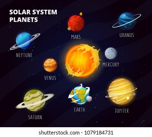 Solar system with cartoon planets on orbit around Sun. Space planets, moon, fantastic cosmic print. Education solar planets illustration