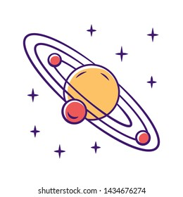Solar system color icon. Celestial bodies orbiting star. Sun planetary system. Planet and three satellites. Astronomy, astrophysics. Space exploration. Space trip. Isolated vector illustration