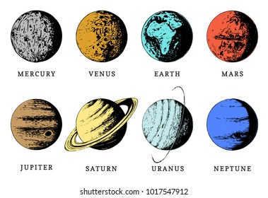 Solar system color infographics in vector. Hand drawn illustration of eight planets on white background.