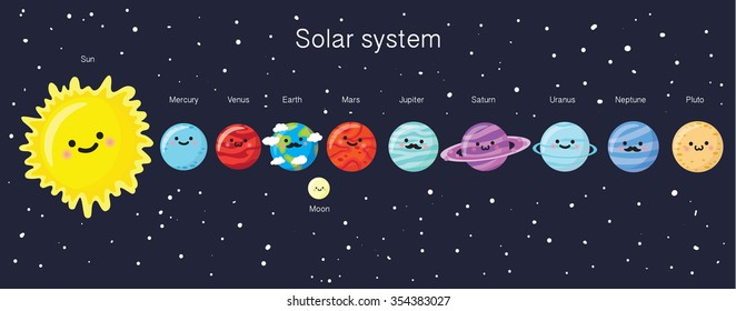 Solar system with cute smiling planets, sun and moon. Vector illustration