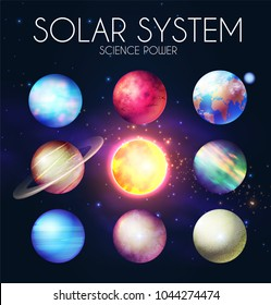 Solar System with Elegant Realistic Planets and Shining Sun. Vector illustration