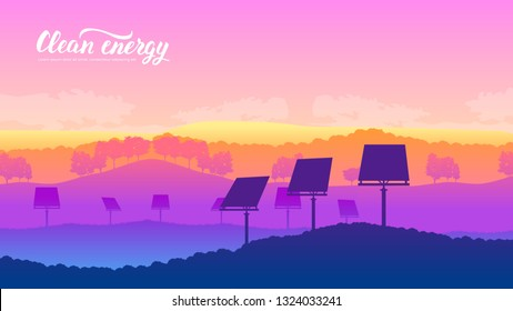 Solar system farm on nature landscape background design. Template land page wallapapers design concept