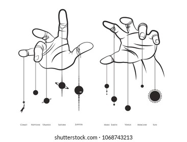 Solar System and Hands of an Invisible Puppeteer
