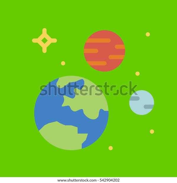 solar system icon flat disign