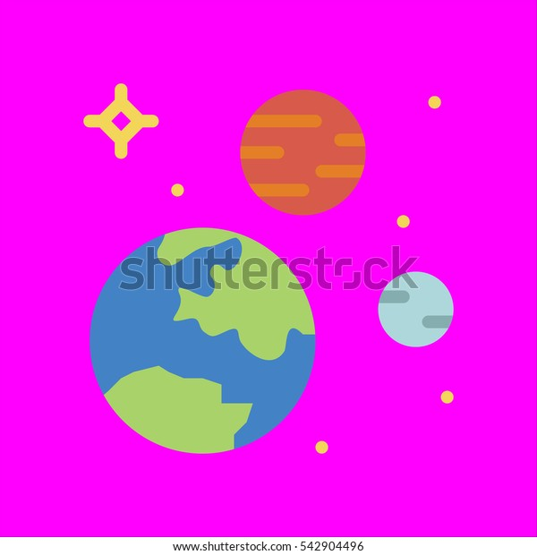 solar system icon flat disign