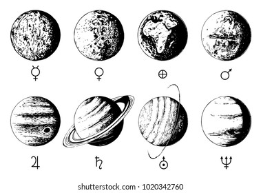 Solar system infographics in vector. Hand drawn illustration of eight planets on white background.