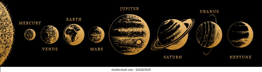 Solar system infographics in vector. Hand drawn illustration of The Sun and eight planets on black background.