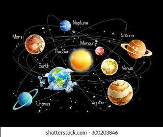 Solar system, isolated on black background vector
