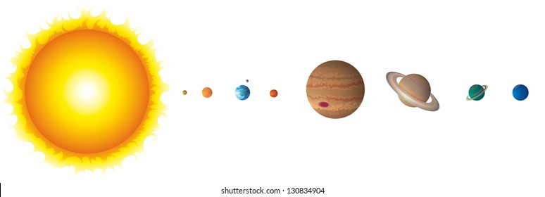 Solar System Isolated on White Vector Compatible Gradients