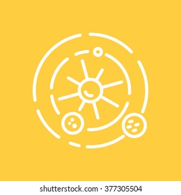 Solar system logo made in trendy line stile vector. Space series.