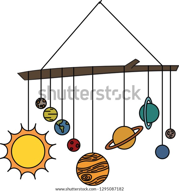 Solar System Mobile Hanging Stick Stock Vector (Royalty Free