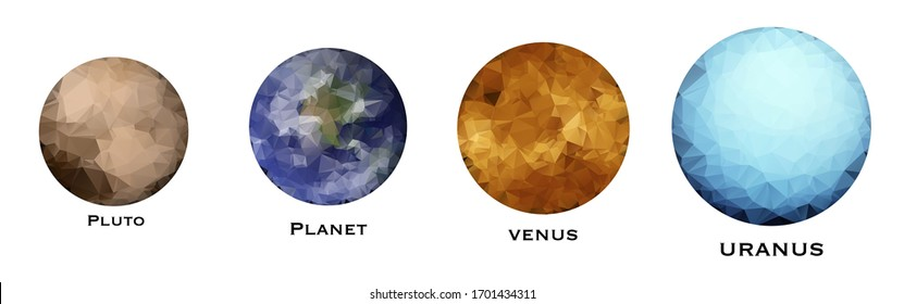 Solar system model illustration. Education poster template. Low polygonal style. The largest objects in solar system.lar system