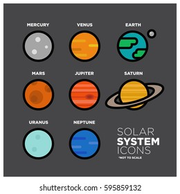 Solar System and Planet Flat Line Icons