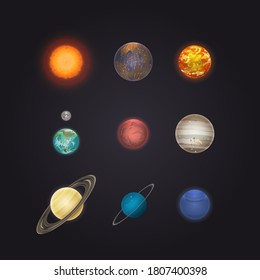 Solar system planet. Sun, cosmic satellite and eight planet of solar system set isolated on deep dark space background. Detailed astronomy and astrophysics object vector collection illustration