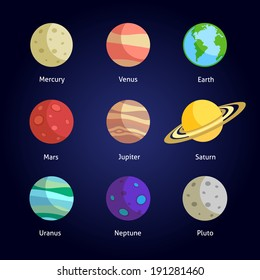Solar system planets decorative icons set isolated on dark background vector illustration