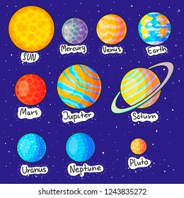 Solar system planets hand drawn cartoon vector illustrations set. Doodle space cliparts. Cartoon planets with signed names. Galaxy. Cosmic collection. Astronomy for kids isolated color design elements