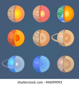 Solar System planets icon set