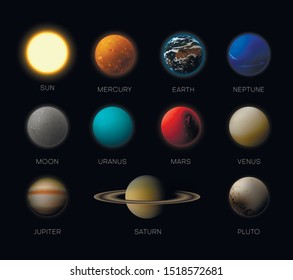 Solar system planets realistic vector illustrations set. Mercury, Earth, Neptune, Jupiter isolated cliparts with names on black background. Astronomy science. Earth, Moon 3D design elements