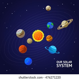 Solar System Planets And Sun Flat Design Style Vector Illustration Of Cartoon