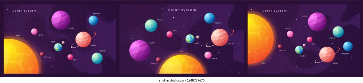 The Solar system. Set of colorful cartoon infographic backgrounds with sun and planets. Vector illustration.