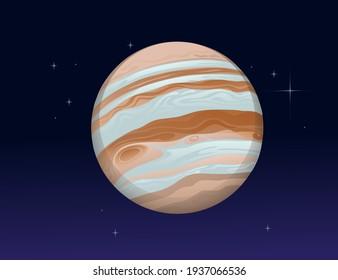 Solar system space object planet Jupiter vector illustration on deep sky background