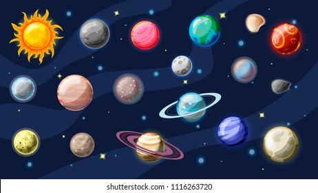Solar system vector cartoon collection. Planets, moons of Earth, Jupiter and other planet of Solar system, with asteroids, Sun and planet rings. Set of cartooning planets of Solar system, space vector