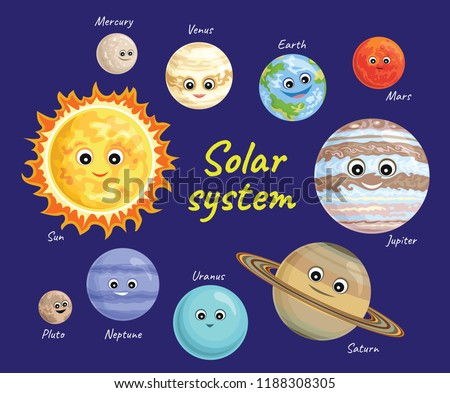 Solar system vector set