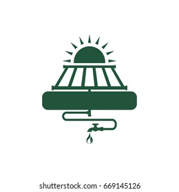 Solar water heater. Save energy. Abstract concept, icon. Flat design. Vector illustration on white background.
