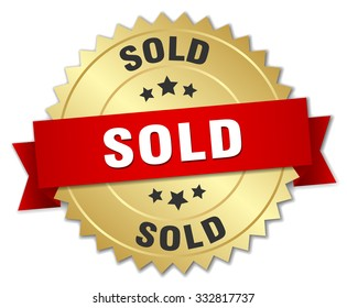 sold 3d gold badge with red ribbon. sold badge. sold. sold sign