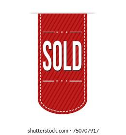 Sold banner design over a white background, vector illustration