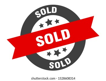 sold black-red round ribbon sign