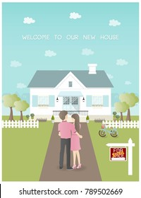 Sold house with couple holding each other in front of new house and garden with bicycle and trees. Blue background with city on the back. Flat design vector illustration.