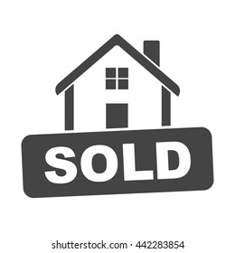 Sold house. Flat vector illustration