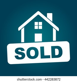 Sold house. Flat vector illustration