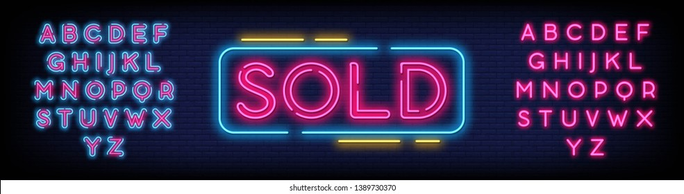 Sold Neon Text Vector with a Brick Wall Background design template  modern trend design  night neon signboard  night bright advertising  light banner  light art. Vector illustration. Editing Text Neon