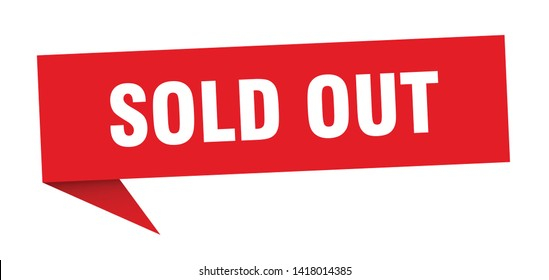 sold out 3d speech bubble sign
