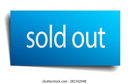 sold out blue paper sign on white background. sold out sticker. sold out. sold out sign