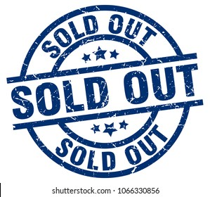 sold out blue round grunge stamp