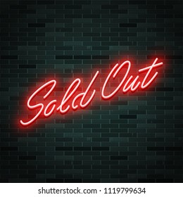 Sold out neon glowing text, vector illustration