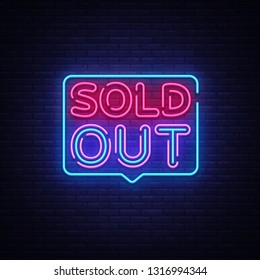 Sold Out neon text vector design template. Sold Out neon logo, light banner design element colorful modern design trend, night bright advertising, bright sign. Vector illustration