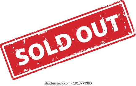 Sold Out red rectangular filled rubber stamp icon isolated on white background. Sold out square stamp symbol.