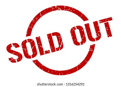 sold out red round stamp